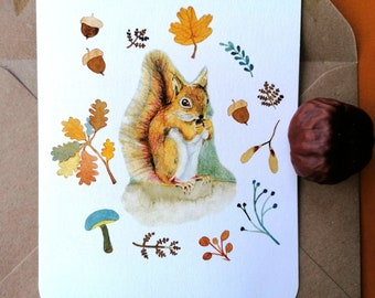 Squirrel, notecard of a watercolour illustration with a vintage feeling+envelope. Forest animal, art by Esther Lankhaar