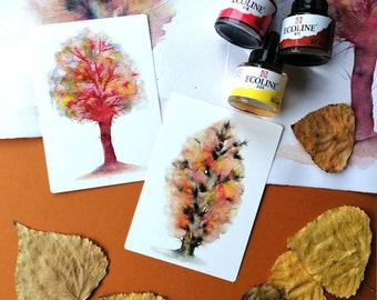 Trees, set of 2 notecards of watercolour illustrations with a vintage feeling+envelopes. Colourful trees.