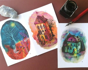 Fairy Tale Nights. Set of 3 Notecards+envelopes of whimsical watercolour illustrations. Imaginary houses, fox, starry night, galaxy.