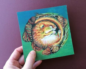 Sleeping little mouse. Notecard +envelope  with a print of a gouache painting of a cute little hibernating mouse