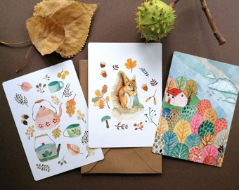 Autumn Love, set of 3 notecards of watercolour illustrations with a vintage feeling. Squirrel, Tea sipping and House on a forrest hill.