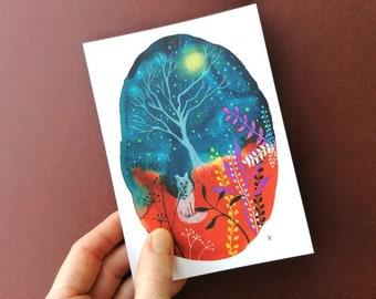 Starry Night. Notecard+envelope, whimsical watercolour &ink illustration. Fox, magical,tree.