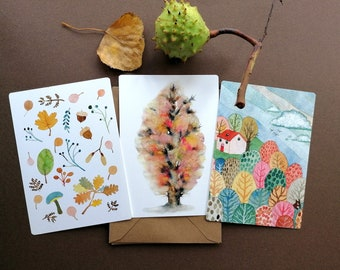 Colours of Autumn, set of 3 notecards of watercolour illustrations with a vintage feeling. Autumn leaves, Trees  and House on forrest hill.