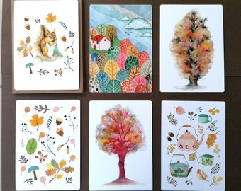Cosy Autumn, set of 6 watercolour illustrations on notecards and envelopes. Colourful art-cards on eco-friendly paper.