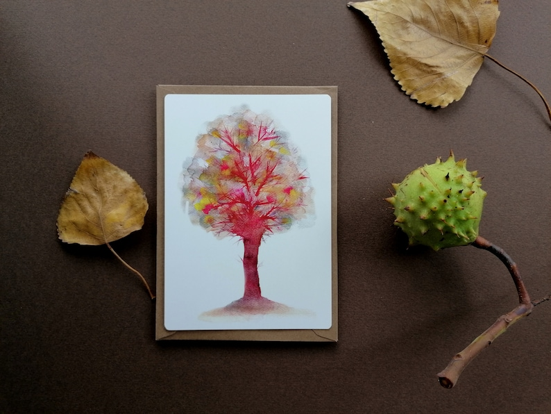 set of 2 notecards of watercolour illustrations with a vintage feeling+envelopes Trees Colourful trees.