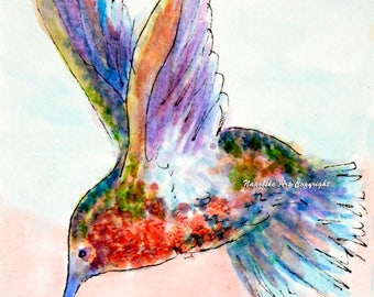 "ACEO Limited Edition ""Hummingbird"" by Napolske Artist Free Shipping"
