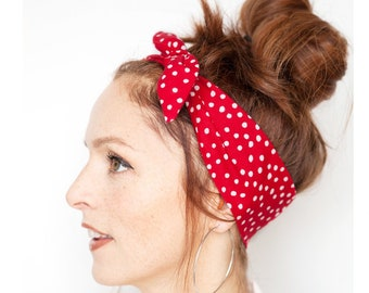 Red Tie on Hairscarf Red Polka Dot Headband Rosie The Riveter Bandana Pinup  Rockabilly Women Hair Accessories Red Bandana Valentine day gift 5fcb0590ce4