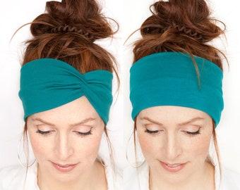 Teal Floral Cotton Adult Headband.