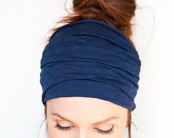 Navy Wide Headband Yoga Headband Boho Headband Running Headband Womens Hair Accessories Dark Blue Headwrap Head Wrap Hair Wrap headbands