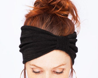 Black Knit Turban - Stretchy Yoga Headband Black Headband Black Turban Womens Hair Accessories Knit Hat Winter Hat Gift Idea Knit Accessory