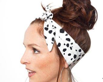 Dalmatians Headband Dalmatians Pattern Polka dot Hair Scarf White Head Wrap  Black Dolly Bow Hair Accessories White Bandana Cruella Costume 10d3276f35b