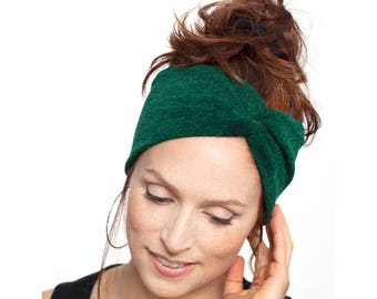 Emerald Green Knit Turban Knit Headband Yoga Headband Green Headband Dark  Green Turban Womens Hair Accessories Knit Hat Winter Headwrap c2ba5f67577