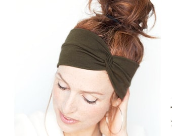 Dark Olive Green Turban Women Turban Headband Khaki Headwrap Green Headband  Twist Headband Women Olive Green Turban Headband Women Headband 943f97271ef