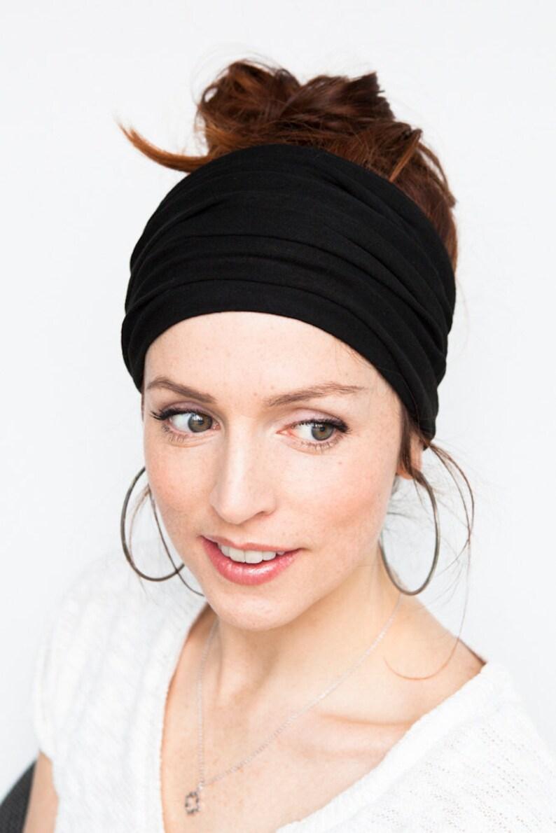Black Headband Wide Headband Yoga Headband Boho Headband image 0
