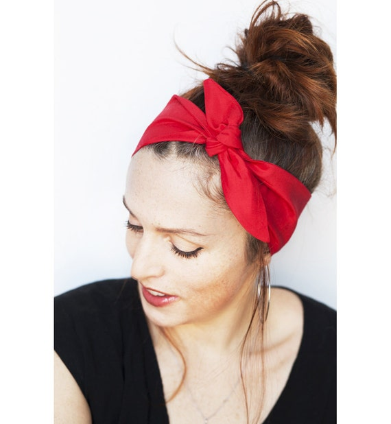 Red Headband Tie up Headband Red Hair Scarf Red Head Wrap  fae016b07ec