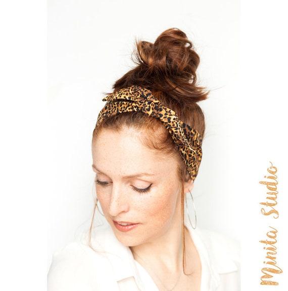 Leopard Headband Pinup Hair Scarf Rockabilly Headband Etsy