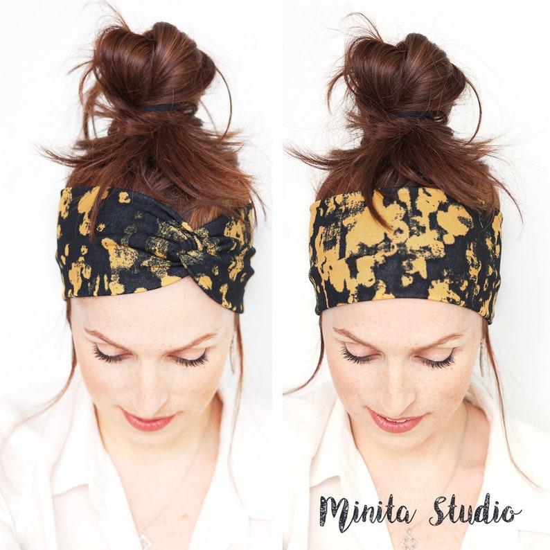 Black and Mustard Yellow Headband Yoga Headband Womens  37bf49c91c