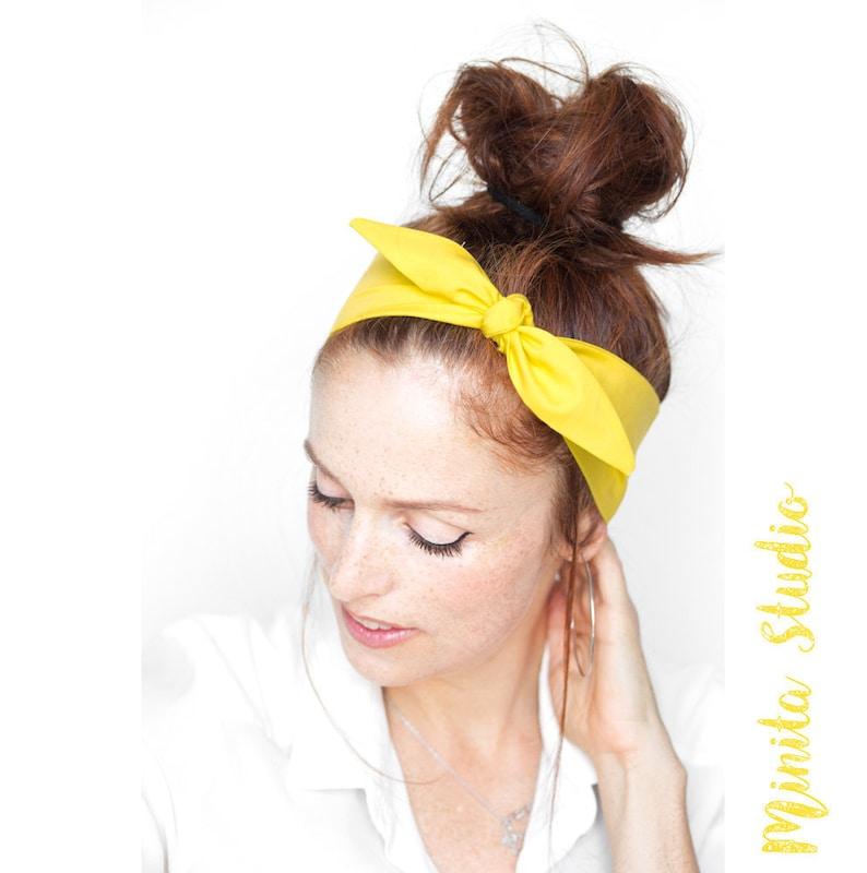Gen Z Yellow Headband Tie on Headband Yellow Hair Scarf White  5be49da4af0