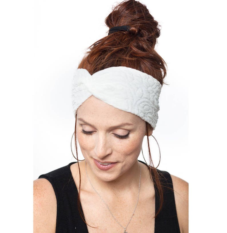 92db57076e4c White Turban Headband Wedding Hair Piece Women Turban