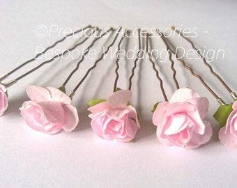 Wedding hair pins etsy uk pink flower girls wedding bridesmaids hairpins set of 5 brides proms bridal accessories hair accessories weddings mightylinksfo