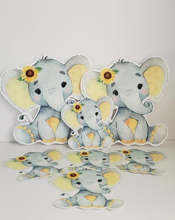 Yellow Elephant Baby Shower Decorations  from i.etsystatic.com