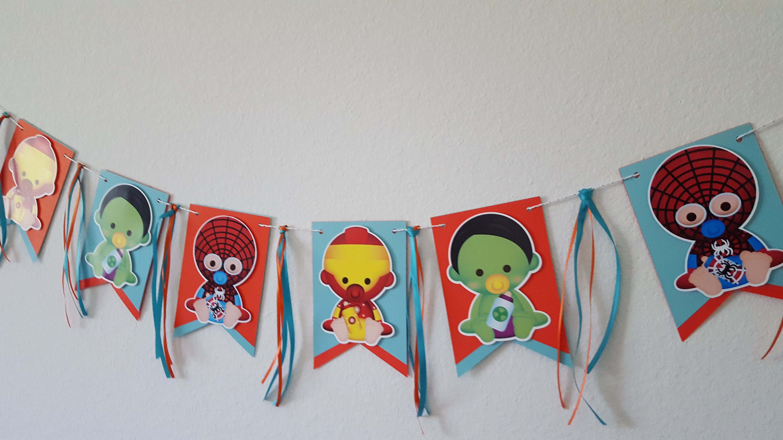 9cf0326b5c0 Superheroes banner superhero baby shower decoration baby