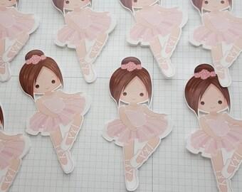 10 Ballerina die cut, ballerina cutouts, ballerina favor, ballerina party, ballerina centerpiece, ballerina birthday, tutu, ballet, pink,