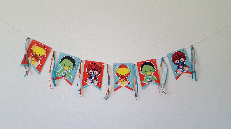 f4d092735a9 Superheroes banner superhero baby shower decorationAvengers