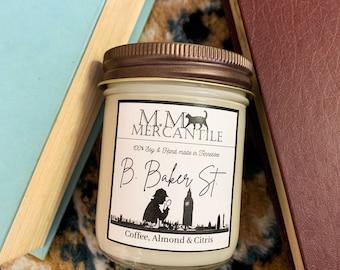 221 B. Baker St. 100% Soy Sherlock Inspired Candle
