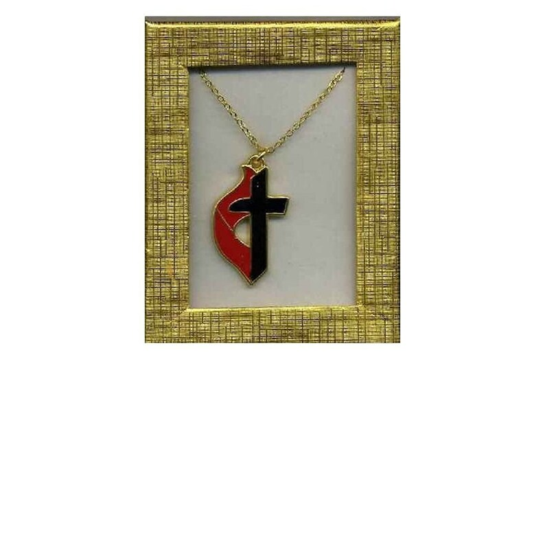 United Methodist Cross and Flame Necklace Gift Boxed