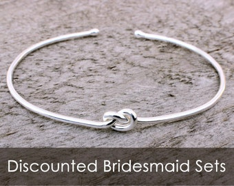 Sterling Silver Love Knot Bracelet, Bridesmaid Jewelry Set or Single, Tie the Knot Bracelet, Tie the Knot Bridesmaid