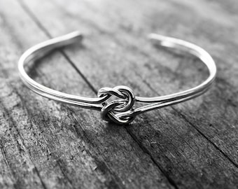 Double Love Knot Cuff Bracelet, Sterling Silver Bridesmaid Jewelry, Tie the Knot Bracelet, Mother of the Bride Gift, Tie the Knot Bridesmaid