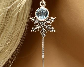 Frozen Snowflake Earrings Sterling Silver Crystal Earrings, Winter Wedding Ear Threads