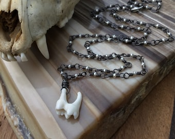Creature Tooth Pendant on Recycled Sterling Silver Chain with Gold Hematite Ethically Collected Vulture Culture Bone Jewelry Amulet