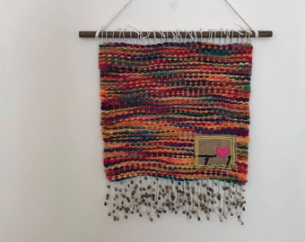 Hand Woven Wall Hanging - Merino wool, crewel accent and happy bells!
