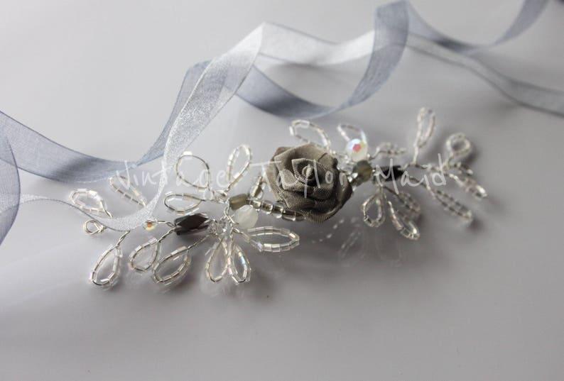 Silver Beaded Wedding Hair Vine