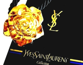 YVES SAINT LAURENT ~ Authentic Vintage Collection Gold Plated Flower Necklace