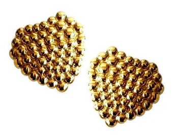YVES SAINT LAURENT ~ Authentic Vintage Gold Plated Heart Clip On Earrings