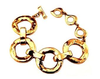 YVES SAINT LAURENT ~ Authentic Vintage Gold Plated Large Ring Bracelet/Chain/Link