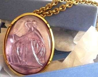 LANVIN ~ Authentic Vintage Gold Plated Cameo Necklace - Chain - Mother and  Daughter Pendant 4420cc0c6db