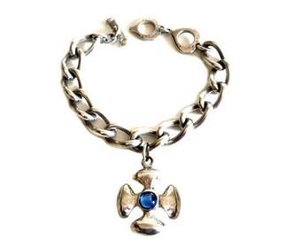 YVES SAINT LAURENT ~ Authentic Vintage Silver Plated Maltese Cross Bracelet