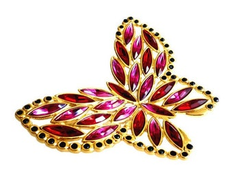 YVES SAINT LAURENT ~ Authentic Vintage Large Gorgeous Red Pink Garnet Butterfly Brooch