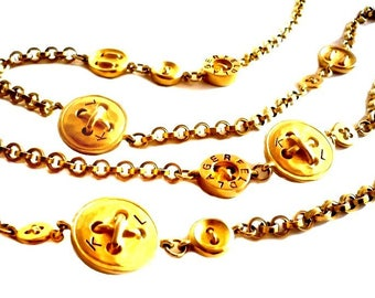 KARL LAGERFELD ~ Authentic Vintage Gold Tone Buttons Long Necklace/Sautoir - KL Monogram Logo