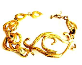 YVES SAINT LAURENT ~ Authentic Vintage Gold Plated Arabesque Bracelet