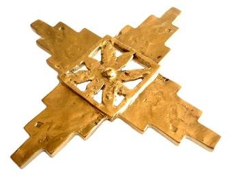 de7c836d296 YVES SAINT LAURENT ~ Authentic Vintage Gold Plated Cross Star Brooch/Pendant