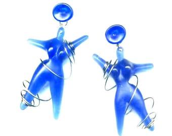 Vintage French Clip On earrings - Blue woman/ Fat Lady - Pop Art
