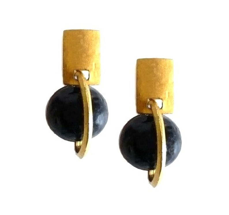 DELPHINE NARDIN ~ Authentic Vintage Gold Plated Earrings Black Moon