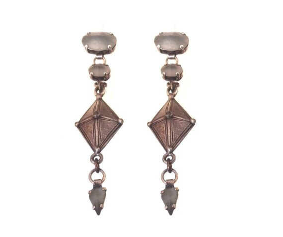 JP GAULTIER ~ Authentic Vintage Tribal Patina Silver Plated Stud Earrings