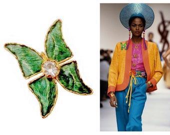 YVES SAINT LAURENT ~ Authentic Vintage Green & Gold Butterfly Brooch/Pendant - Crystal Swarovski - Collection 1993