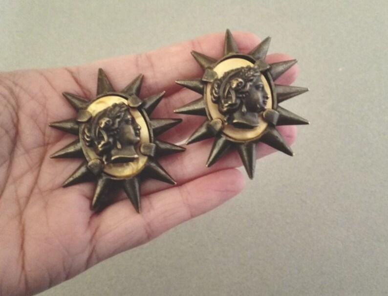JP GAULTIER ~ Authentic Vintage Massive Patina Metal Roman Head Cameo Clip On Earrings Spike
